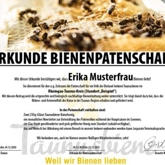 Patenschaft_Taunusbiene_Urkunde